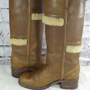 vintage Frye 77025 Campus Shearling Leather Boots